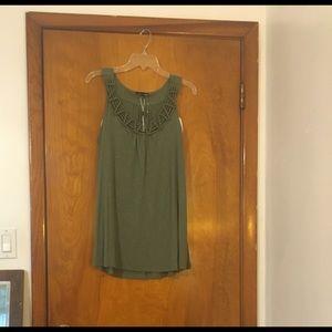 "RXB"" Olive Green Sleeveless Blouse"